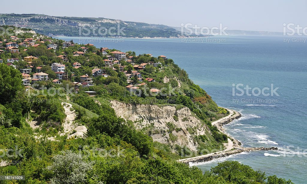 Scenic village Zlatna ribka (Golden fish), Bulgaria stock photo