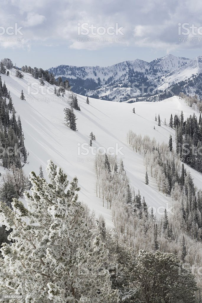 Scenic Wasatch Mountain Views in Winter from Park City Utah stock photo