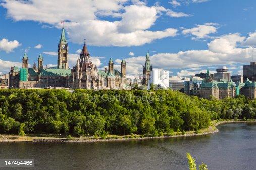 istock Scenic water view of Parliament Hill Ottawa Ontario Canada 147454466