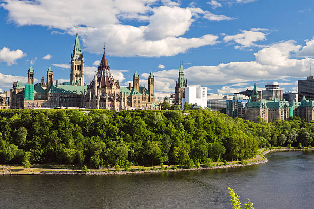 scenic water view of parliament hill ottawa ontario canada - canada parliament stock photos and pictures