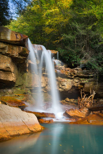 Scenic waterfall, beginning of autumn colors stock photo