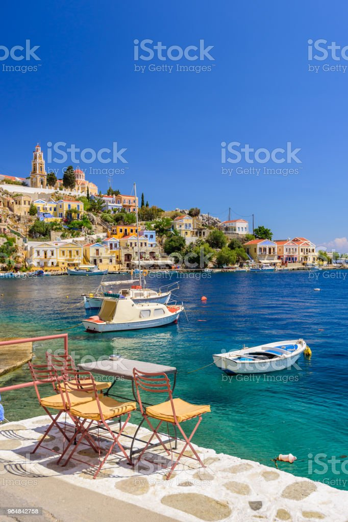 Scenic waterfront on the Greek island of Symi royalty-free stock photo