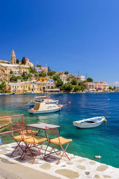 Malerische Uferpromenade auf der griechischen Insel Symi – Foto