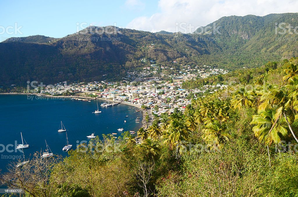 scenic waterfront soufriere town st lucia stock photo