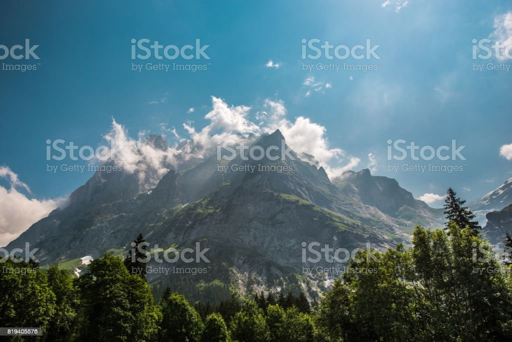 Scenic Wetterhorner Massif stock photo