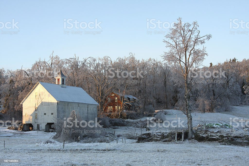 Scenic White Barn stock photo