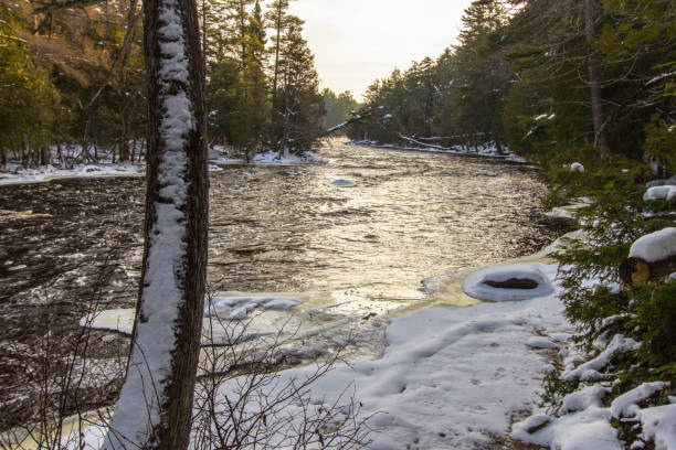 Scenic Winter Landscape At Tahquamenon Falls State Park In Michigan stock photo