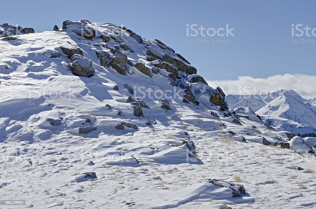 Scenic Winter Mountain View from Up High stock photo
