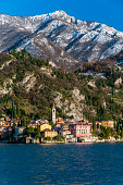 Scenic winter view of Varenna, one of the most picturesque lake villages of Lake Como, Lombardy, Italy