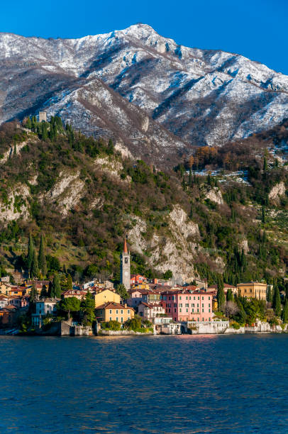Scenic winter view of Varenna, one of the most picturesque lake villages of Lake Como, Lombardy, Italy stock photo