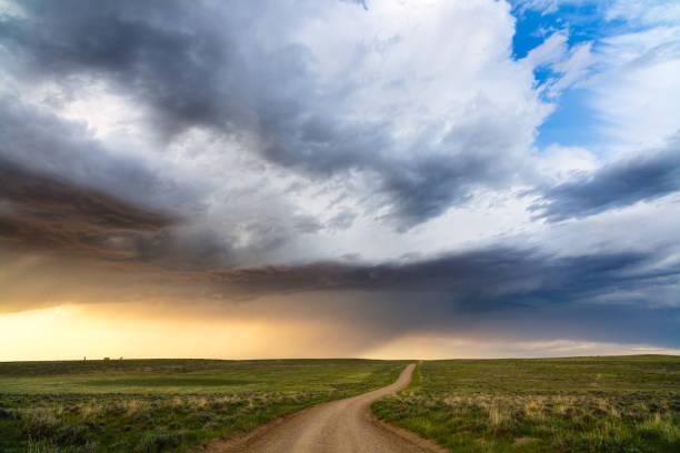 Scenic Wyoming landscape in Thunder Basin National Grassland stock photo
