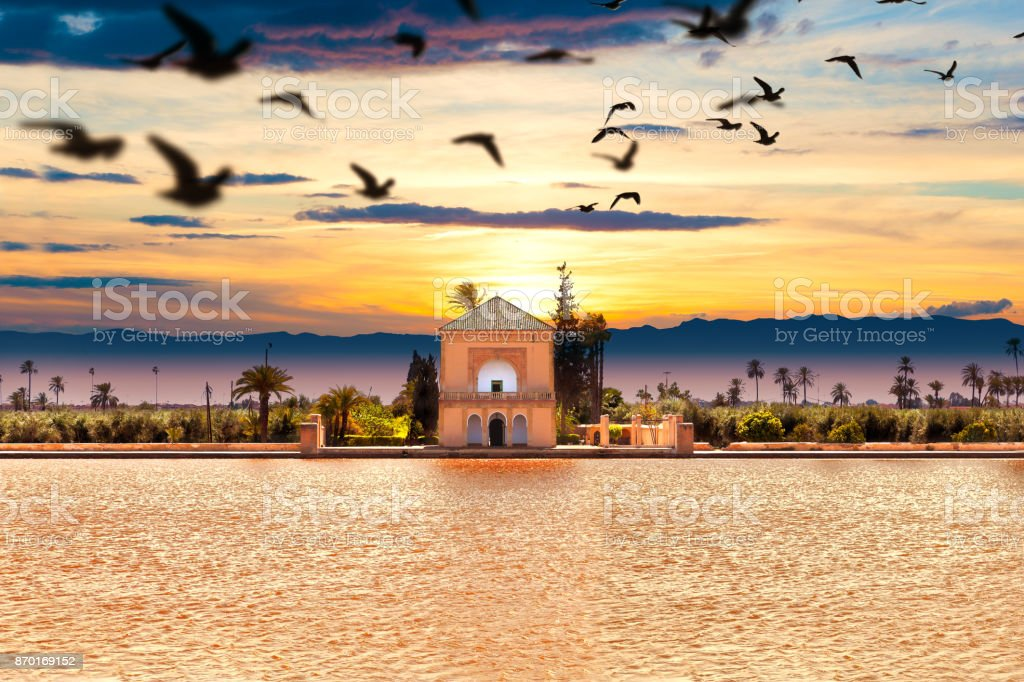 Scenical Menara garden.Travel to morocco.Marrakech stock photo
