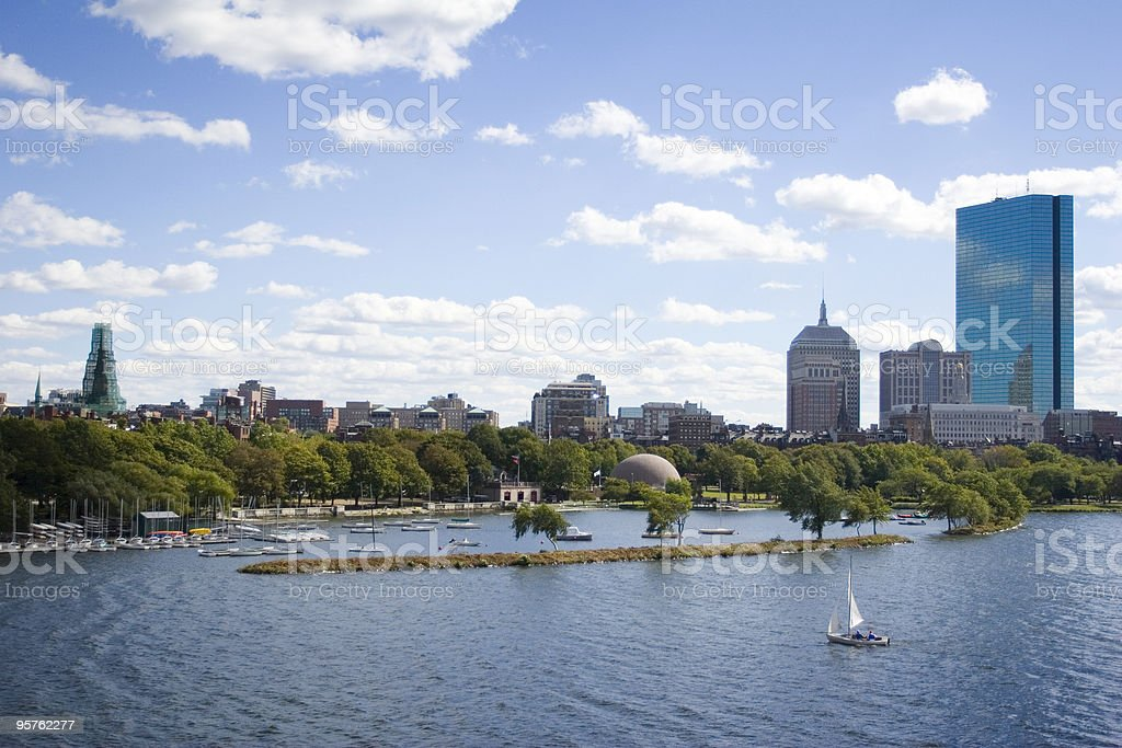 Scenice Charles River with Boston Back Bay and City Skyline stock photo