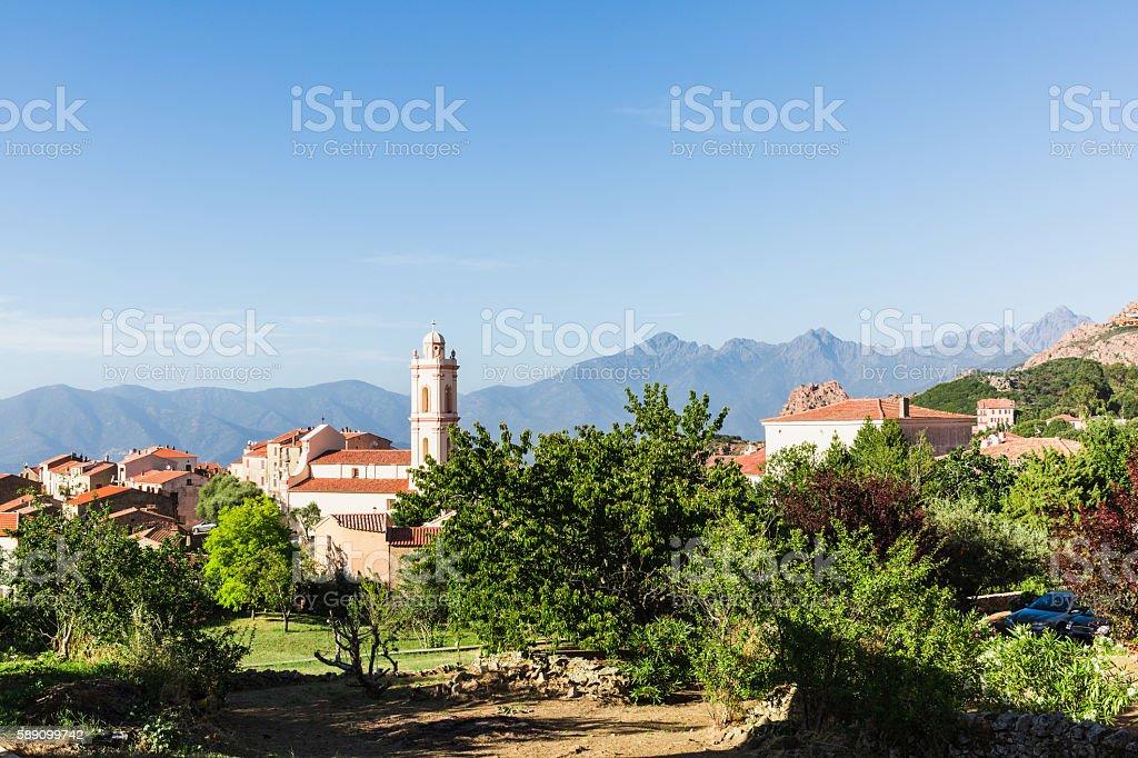 scenics of small town in corsica stock photo