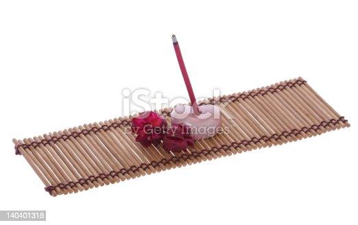 1175869940 istock photo scent joss stick, pebble and flower on mat 140401315
