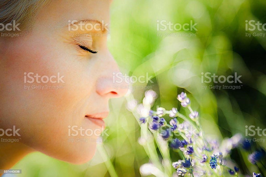 Aroma de verano lavanda mujer oliendo - foto de stock