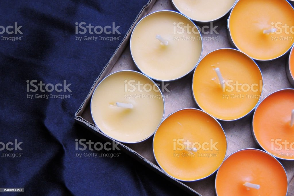 Scented candles and matches stock photo