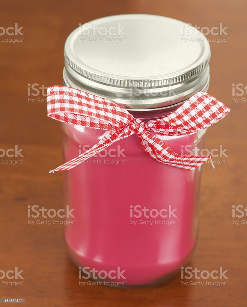 Scented Pink Candle with Bow stock photo