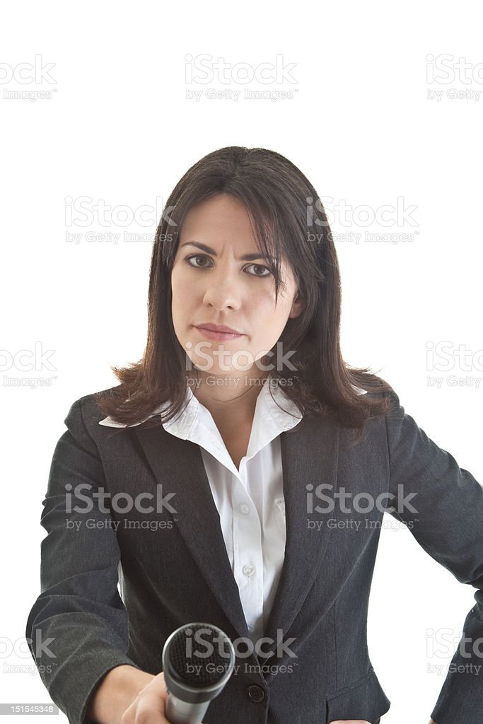 Sceptical Woman Holding Microphone to Camera Questioning Isolated White Background stock photo