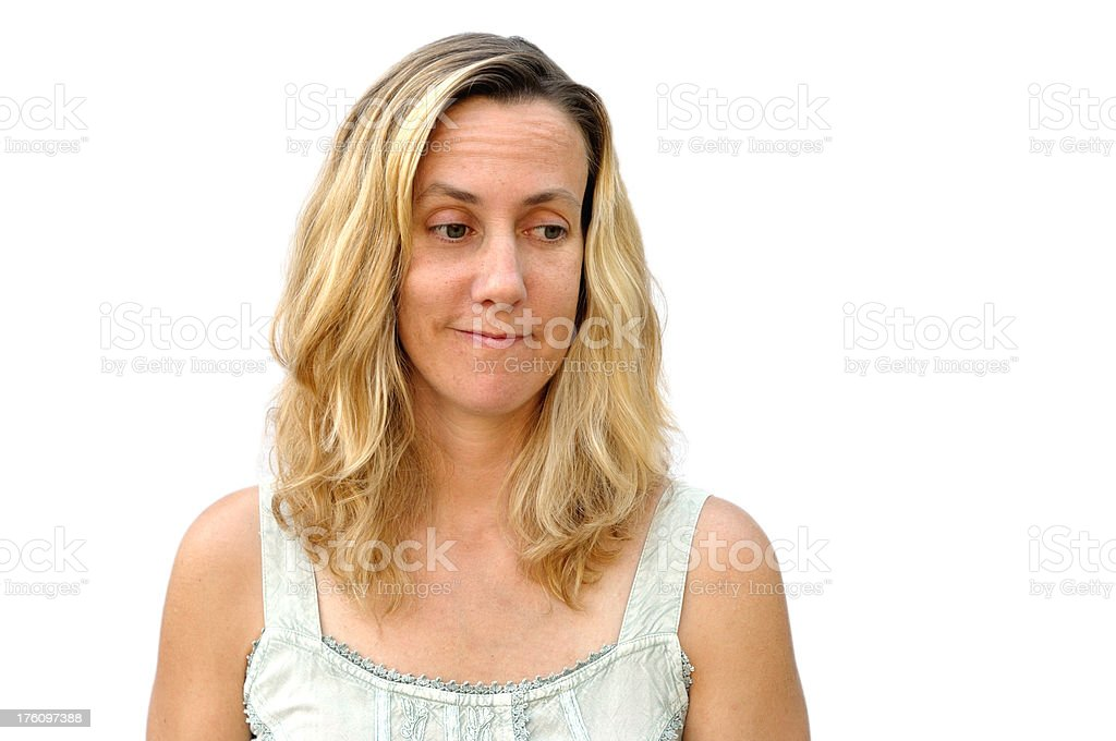 sceptical young woman stock photo