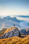 Schafberg mountain summit at sunset, Salzkammergut, Austria