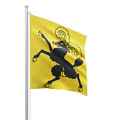 istock Schaffhausen (cantons of Switzerland) flag waving on white background, close up, isolated. 3D render 1279001256