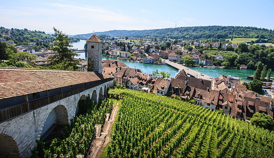 Schaffhausen, Switzerland. Panoramic view of the old town, Munot fortress overlooking Rhine River. A city on the Upper Rhine in northern Switzerland. The old town has many fine Renaissance buildings, fountains and decorations.