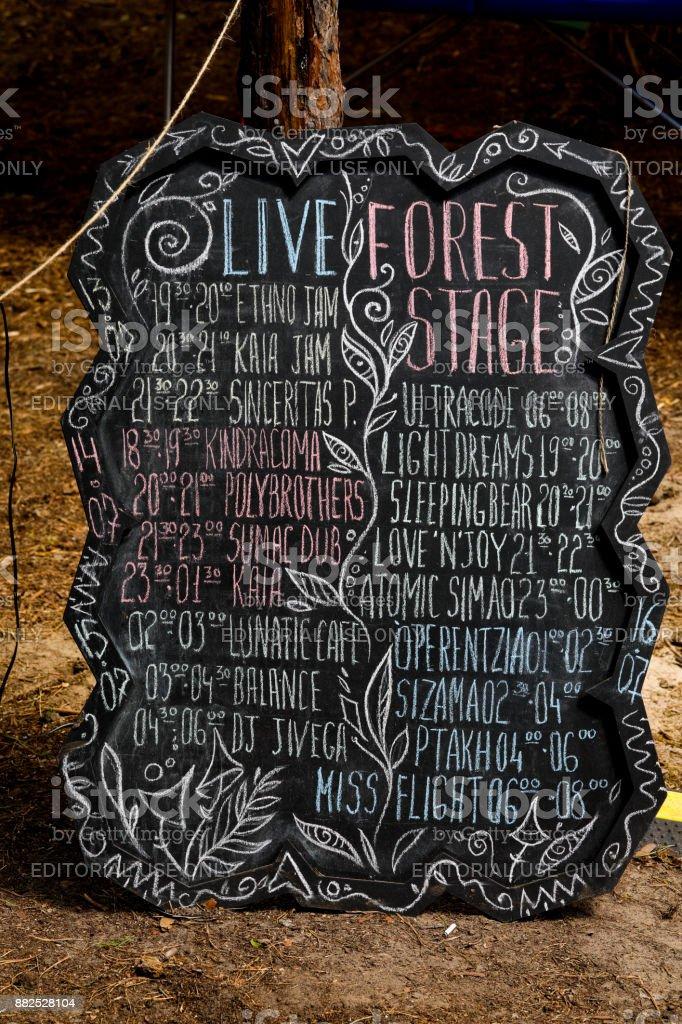 Calendrier des groupes au Vibronica festival sur la scène de la forêt, Kiev, Ukraine. - Photo