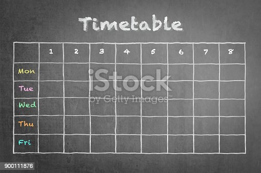 istock Schedule - Timetable blank calendar on school or business chalkboard 900111876
