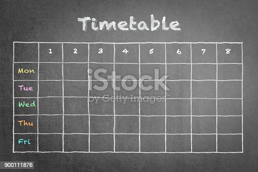 istock Schedule - Timetable blank calendar on school or business chalkboard 900111876