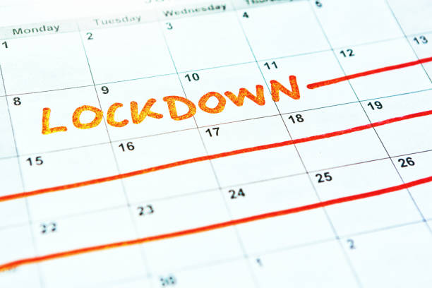 LOCKDOWN scheduled on a calendar during Covid-19 coronavirus pandemic stock photo
