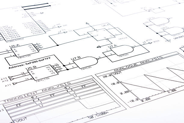 A schematic of some electronics on white paper stock photo