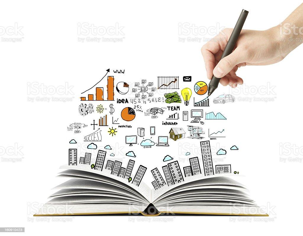 scheme and open book hand drawing business scheme and open book Book Stock Photo