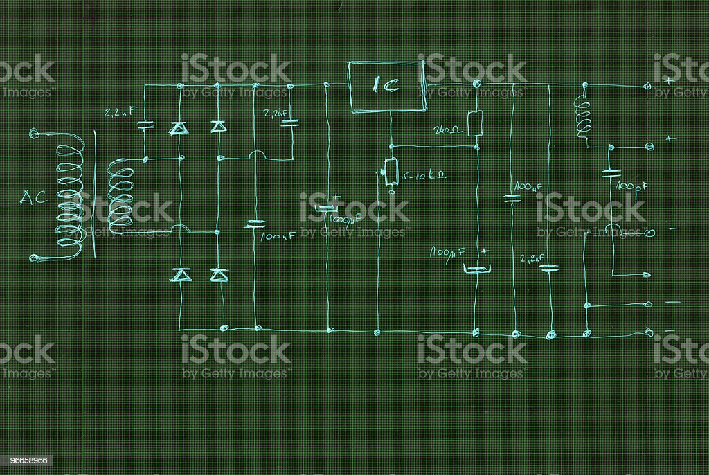 scheme electronic circuit royalty-free stock photo