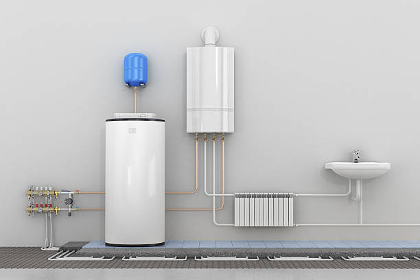 scheme heating in homes. - hot spring stock photos and pictures