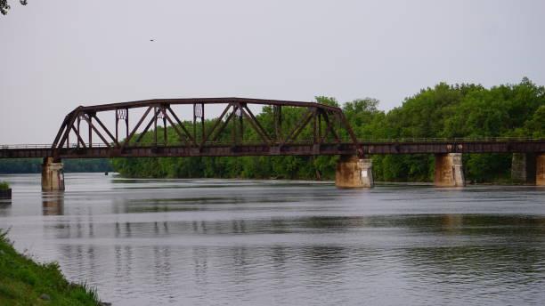 Schenectady, New York Train Bridge over Mohawk River stock photo