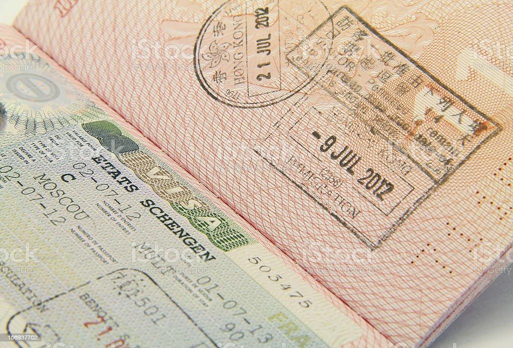 Schengen and Hong Kong visa royalty-free stock photo