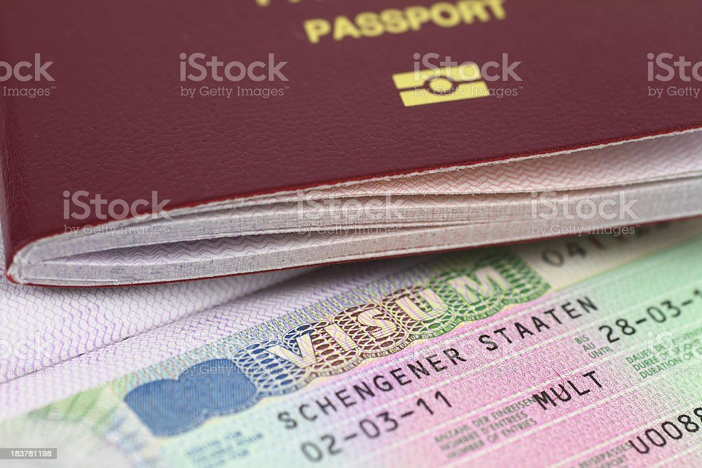 Schengen Visa and Passport stock photo