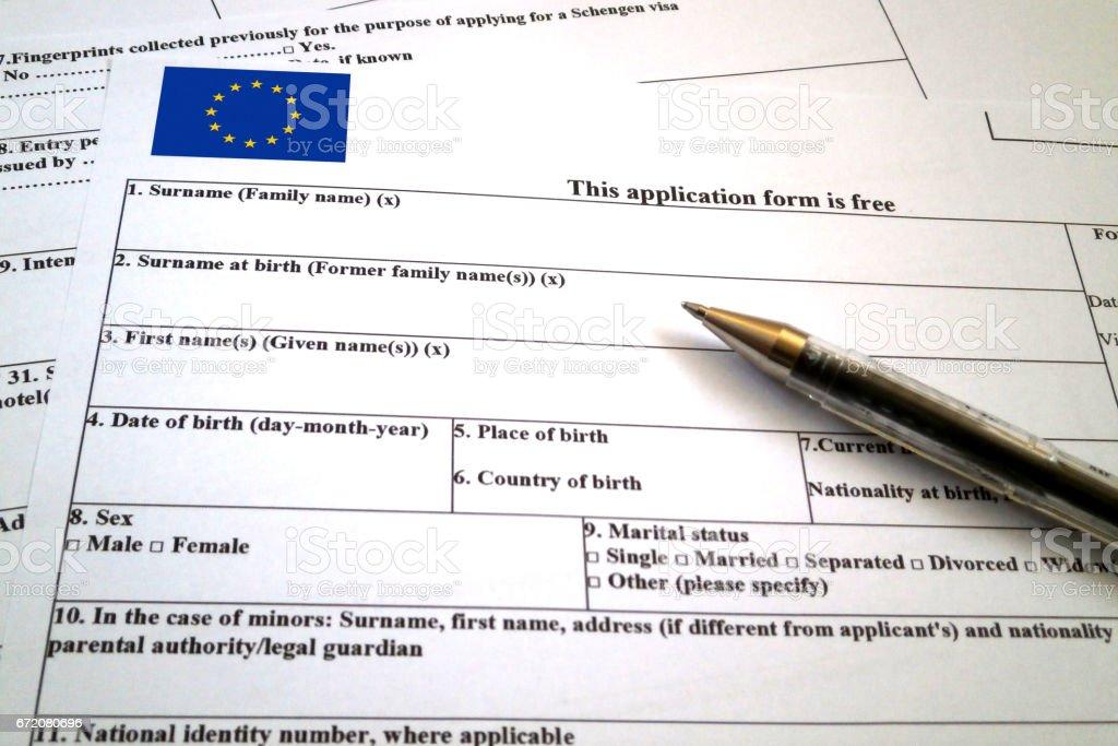 Schengen visa application form stock photo more pictures of schengen visa application form royalty free stock photo thecheapjerseys Gallery