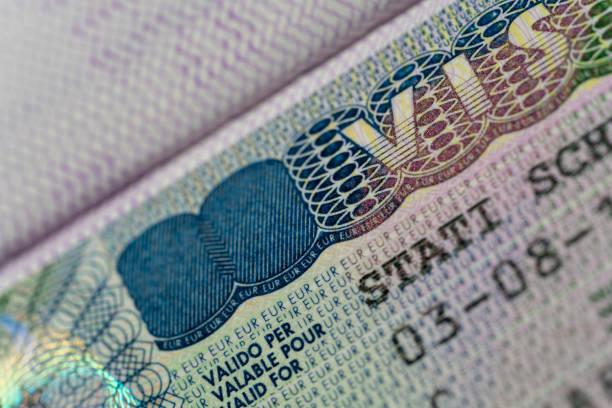 Schengen Visa for EU Country Multiple Entry stock photo