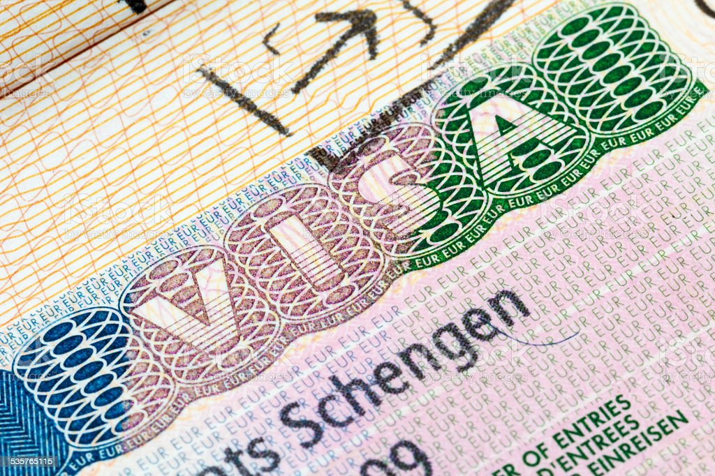 Schengen visa in the passport stock photo