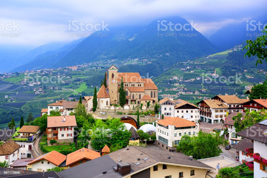 Schenna in the Alps mountains, Merano, South Tyrol, Italy stock photo