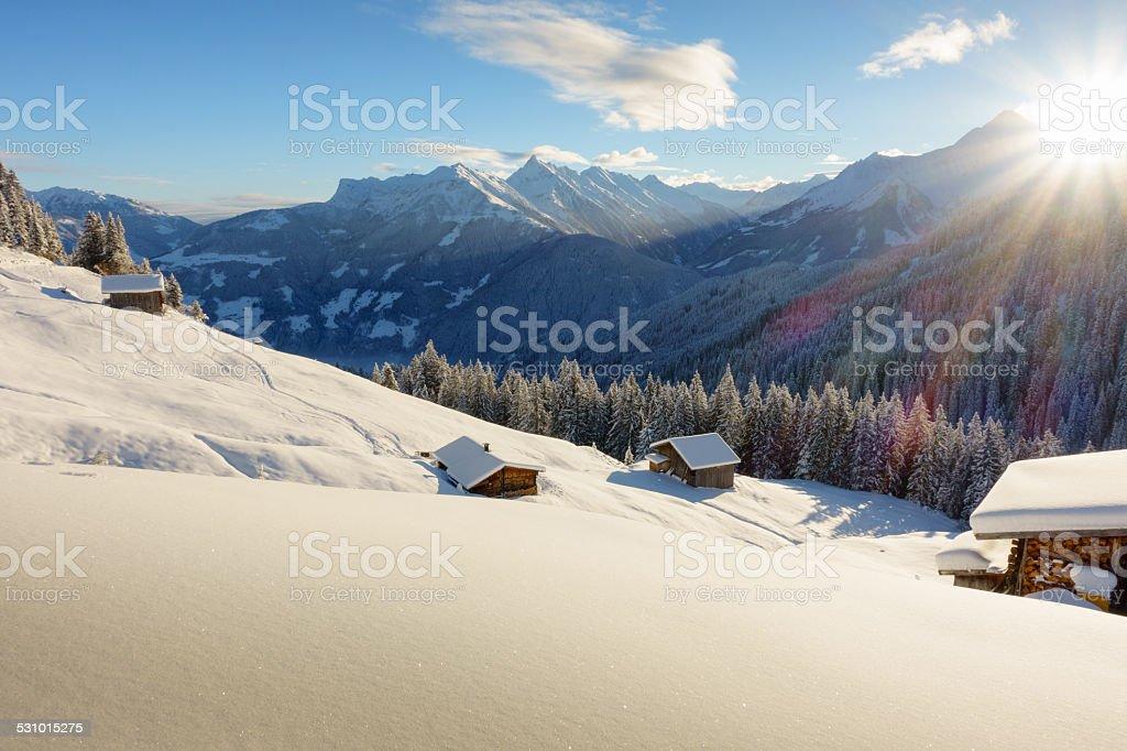 Schihütte im Schigebiet von Mayrhofen stock photo