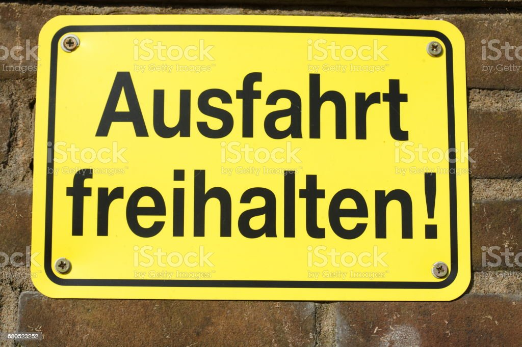 Schild Ausfahrt Freihalten !, Deutschland stock photo