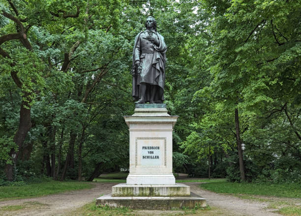 Schiller monument at Maximiliansplatz square of Munich, Germany stock photo