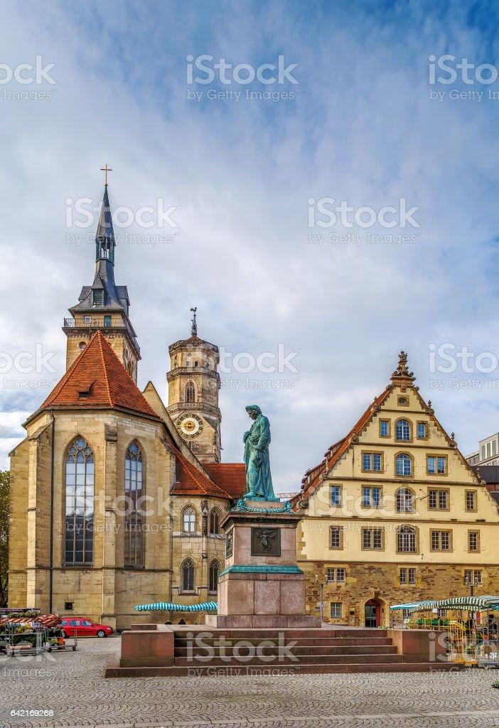 Schillerplatz square, Stuttgart, Germany stock photo