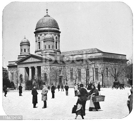 The Berlin Cathedral (Supreme Parish and Collegiate Church) in Berlin, Germany. The German Empire/Imperial Germany era (circa mid 19th century). Vintage halftone photo etching circa late 19th century. Karl Schinkel's remodel design.