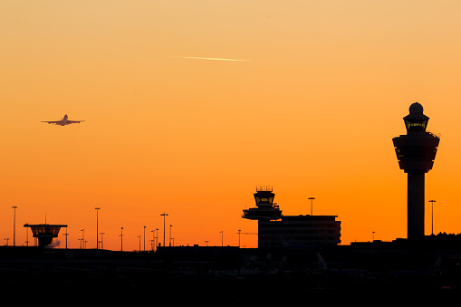 Schiphol Airport Sunset Stock Photo - Download Image Now