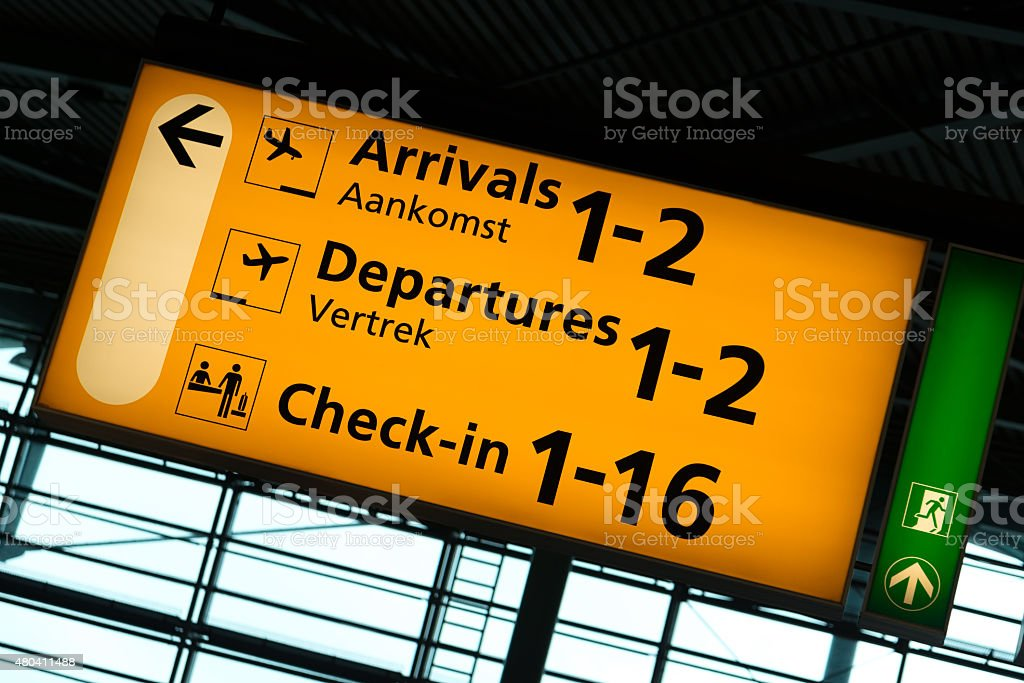 Schiphol sign stock photo