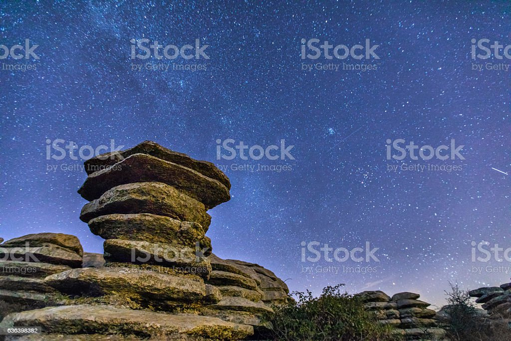 Schistous rock at night in El Torcal natural park stock photo